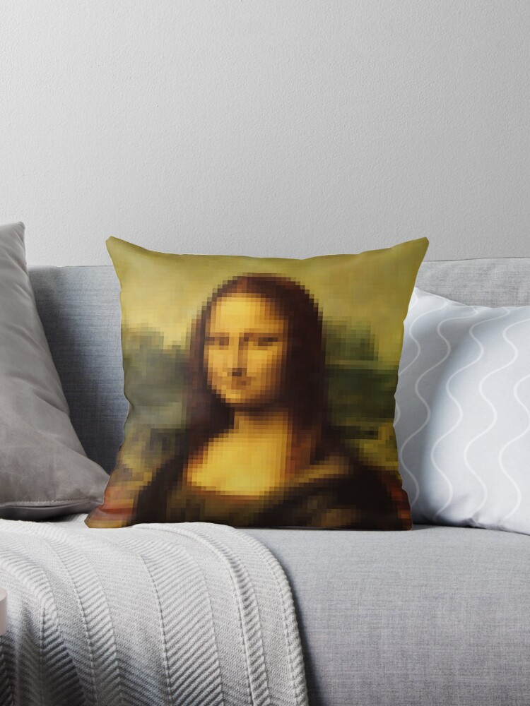 Quot Pixel Mona Lisa Quot Throw Pillows By Fix It Fran Redbubble