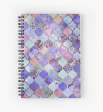 Royal Purple, Mauve & Indigo Decorative Moroccan Tile Pattern Spiral Notebook