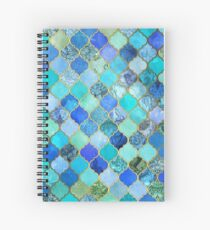 Cobalt Blue, Aqua & Gold Decorative Moroccan Tile Pattern Spiral Notebook