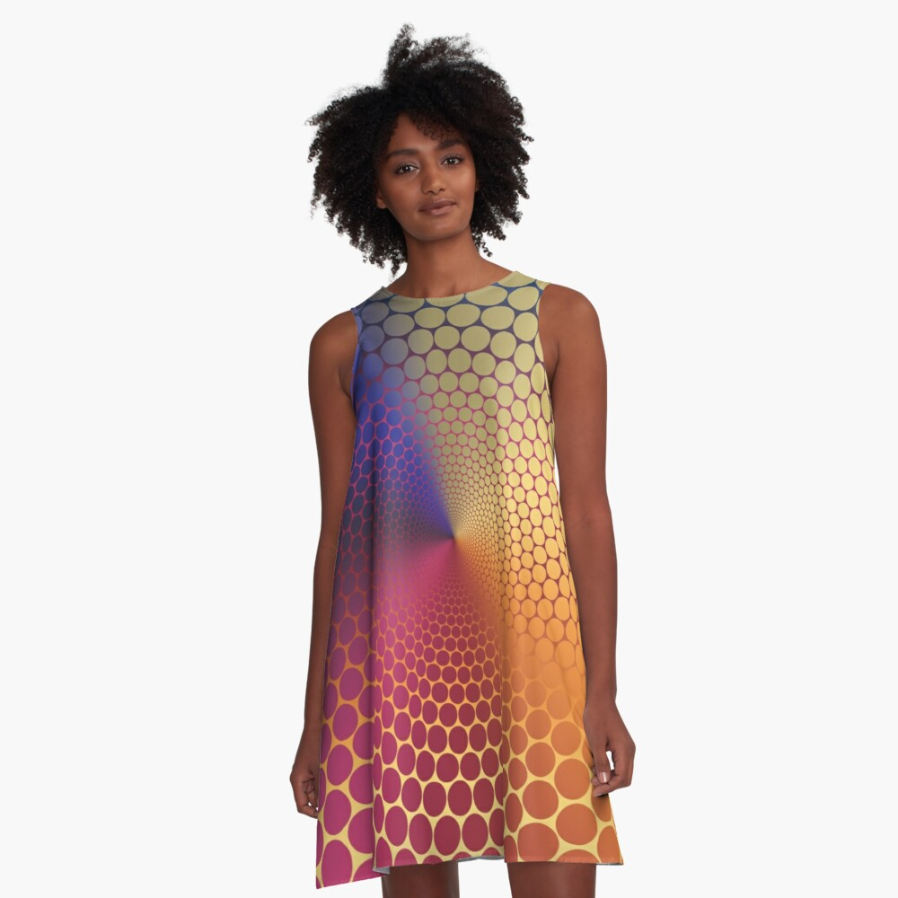 Optical Illusion Angle Gradient on Linear Gradient A-Line Dress