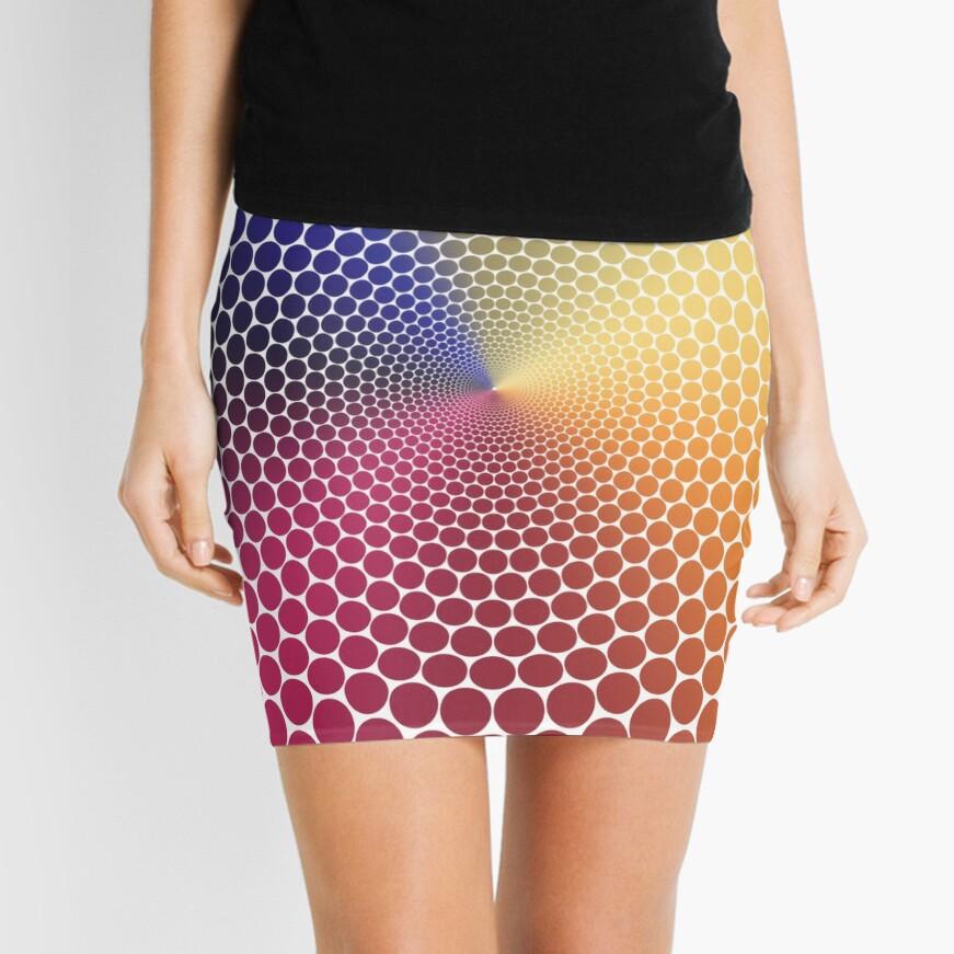 Optical Illusion Angle Gradient on White Mini Skirt