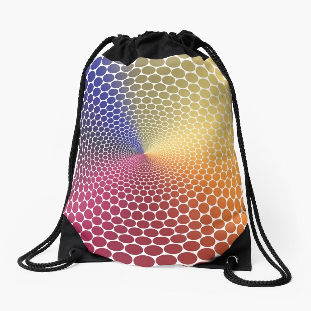Optical Illusion Angle Gradient on White Drawstring Bag