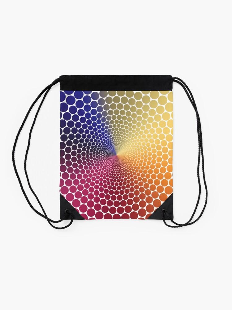 Alternate view of Optical Illusion Angle Gradient on White Drawstring Bag