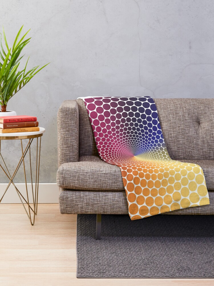 Alternate view of Optical Illusion Angle Gradient on White Throw Blanket