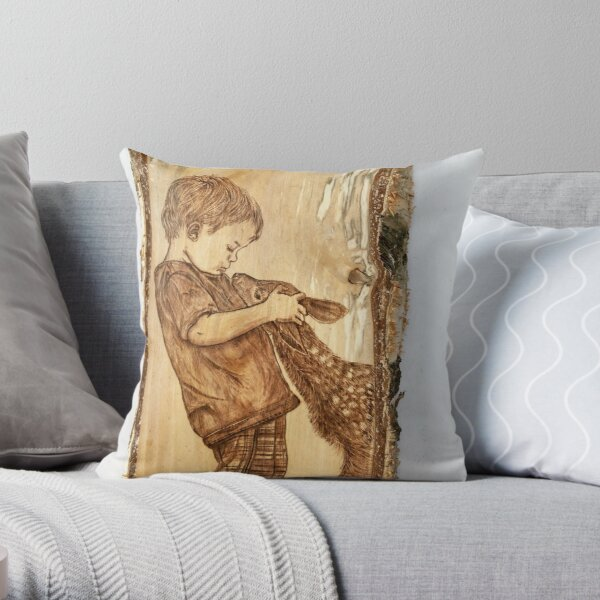 Little boy and fawn Throw Pillow