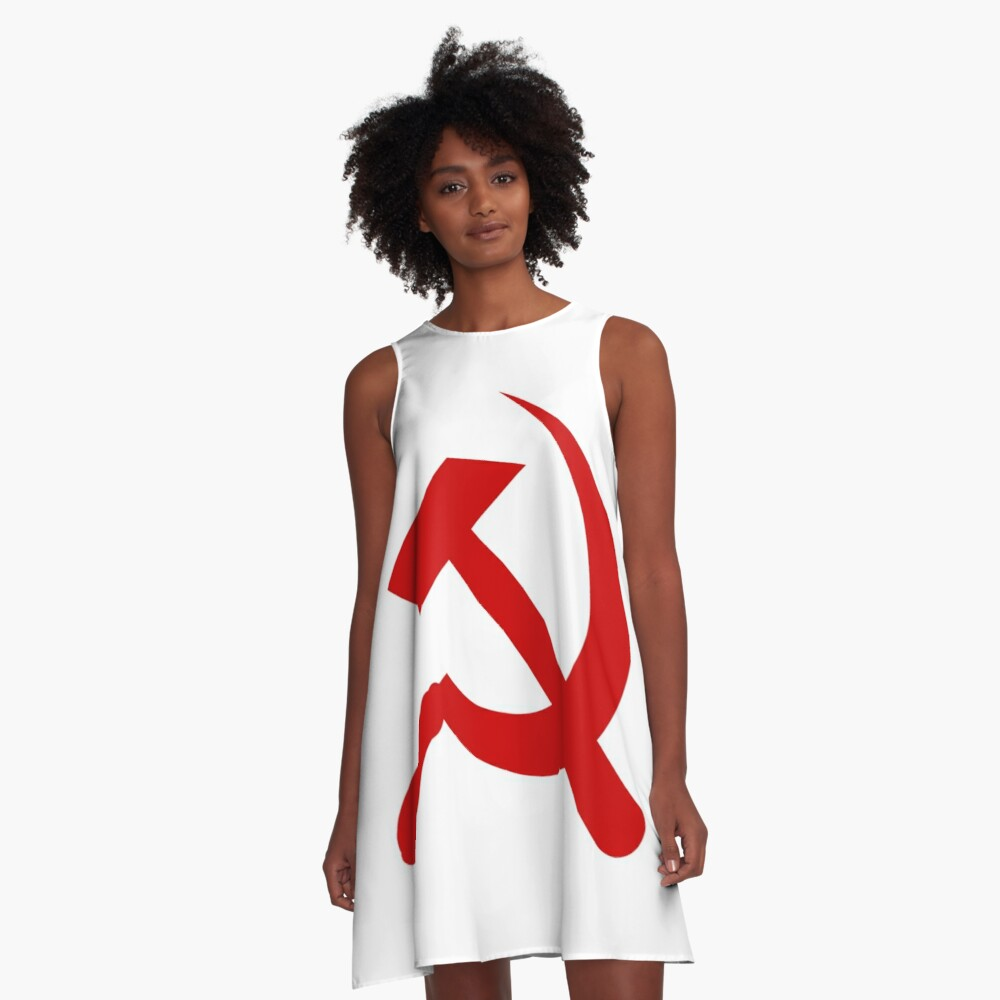 ☭ A-Line Dress: A #red #hammer and #sickle, in the shape it appeared (in gold) on the #Soviet Unions flag from 1955 to 1991