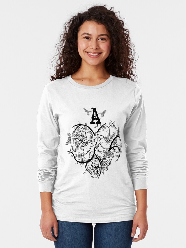 Alternate view of Ace of Hearts Flowers Long Sleeve T-Shirt