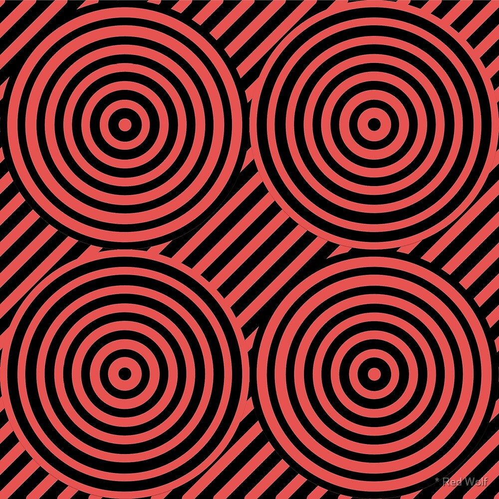 Geometric Pattern: Circle Strobe: Red/Black by * Red Wolf
