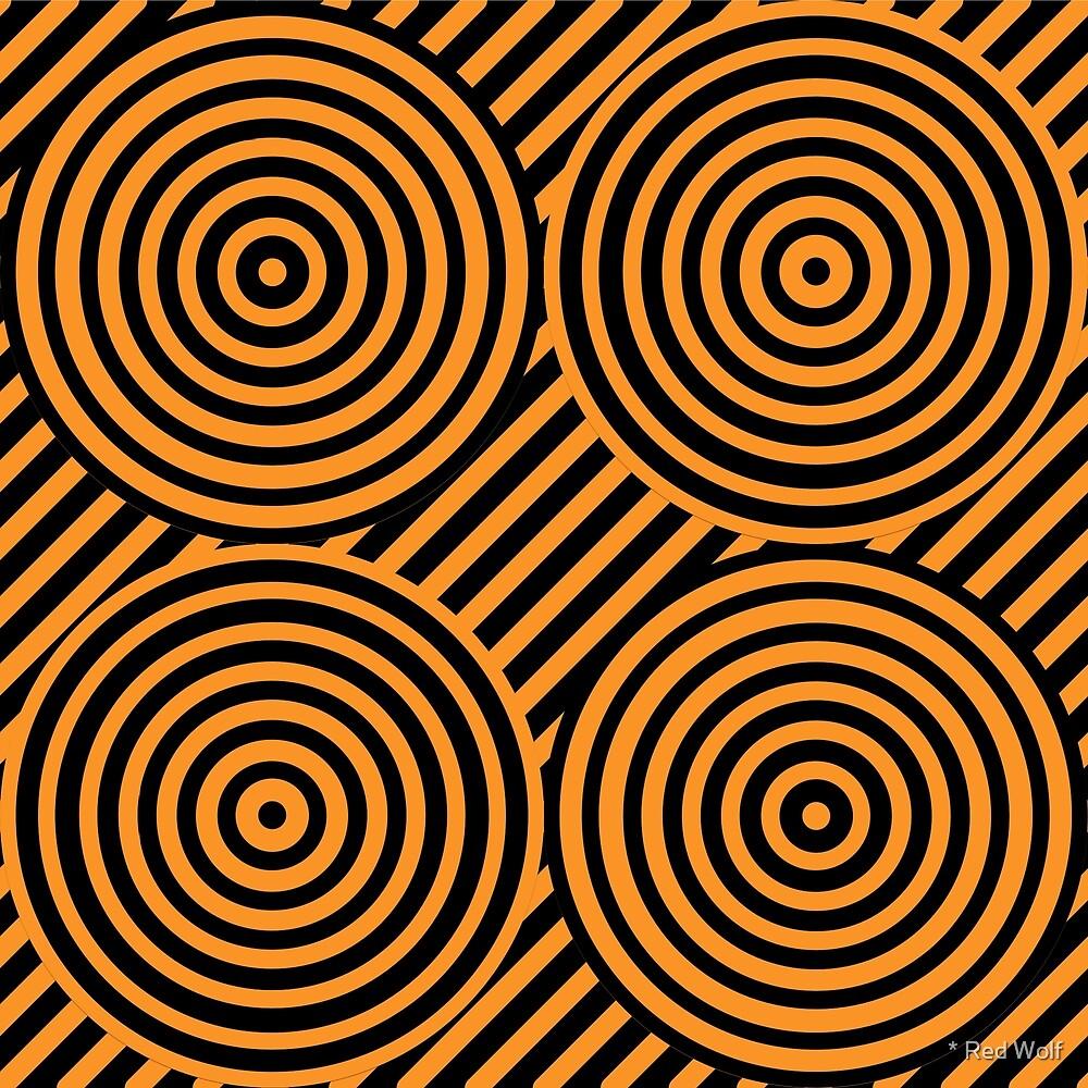Geometric Pattern: Circle Strobe: Orange/Black by * Red Wolf