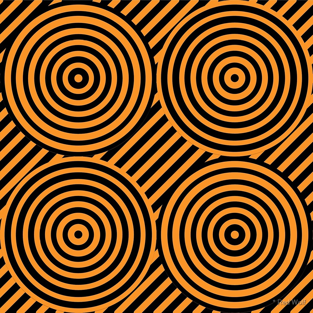 Geometric Pattern: Circle Strobe: Orange/Black by * Red Wolf