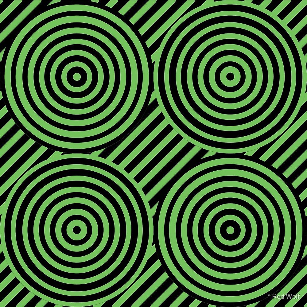 Geometric Pattern: Circle Strobe: Green/Black by * Red Wolf