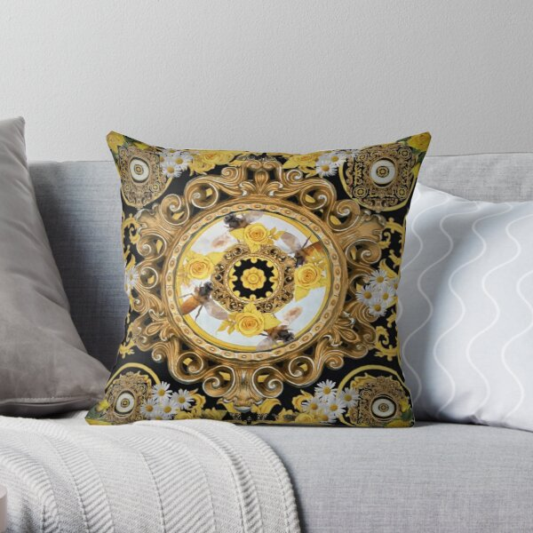 yellow rose  and bees vintage kitsch  baroque scarf iphone case  digital bag print  designed by mysticladyart  Throw Pillow