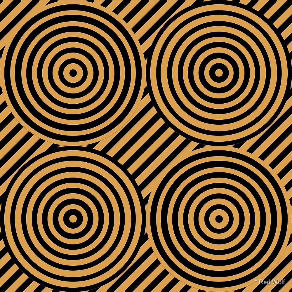 Geometric Pattern: Circle Strobe: Gold/Black by * Red Wolf