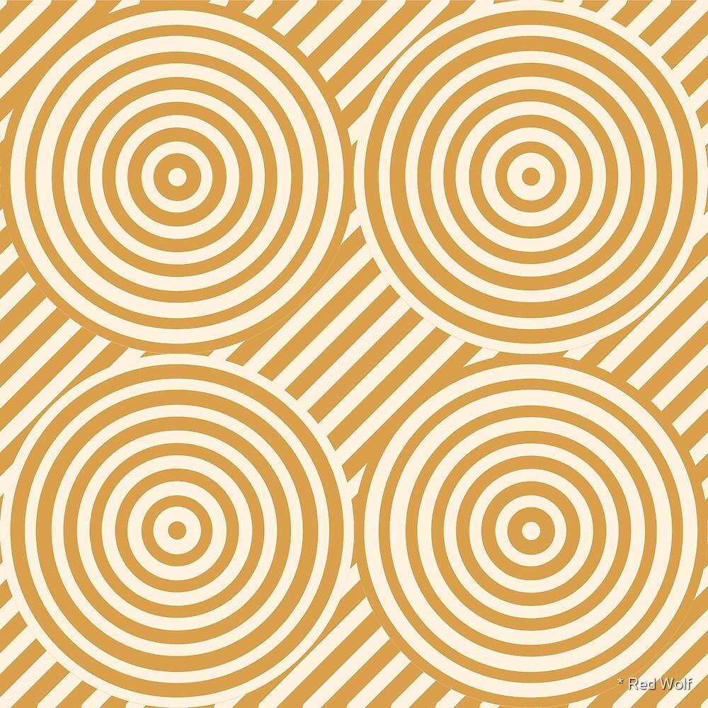 Geometric Pattern: Circle Strobe: Gold/Cream by * Red Wolf
