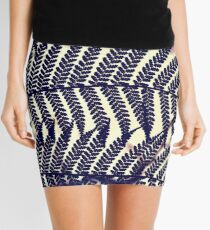Fern Leaves in Silhouette Mini Skirt