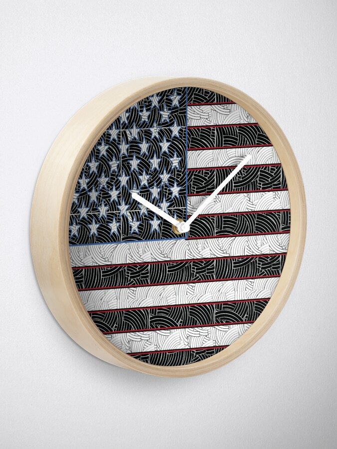 Alternate view of USA American Flag Art  Clock