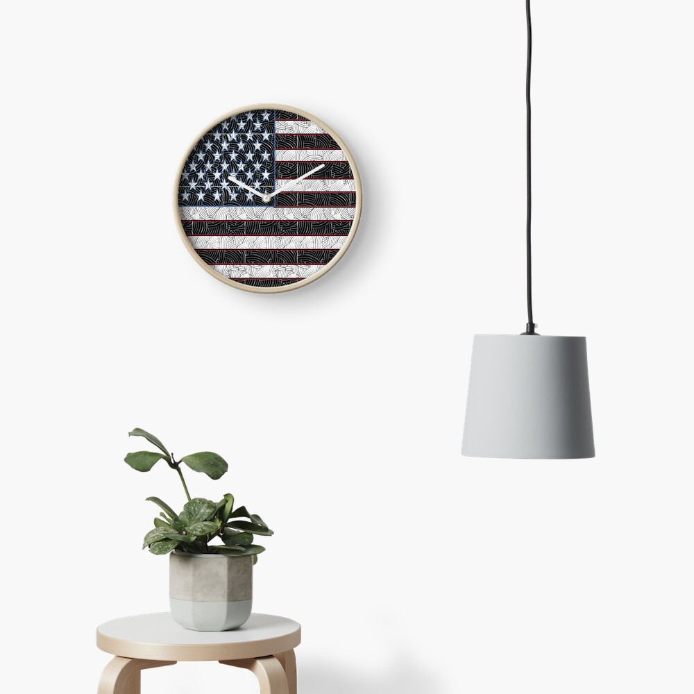 USA American Flag Art  Clock