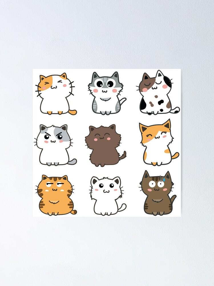 Cute Cartoon Cats Sticker Set 2 Poster By Cafepretzel Redbubble