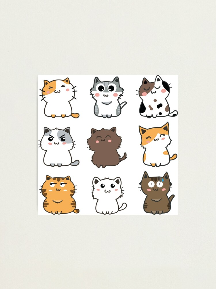 Cute Cartoon Cats Sticker Set 2 Photographic Print By Cafepretzel Redbubble