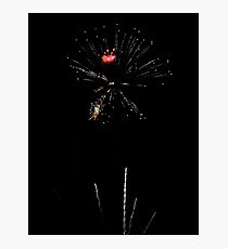 Night Lights up with Fireworks Photographic Print