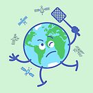 Earth chasing annoying satellites with a fly swatter by Zoo-co