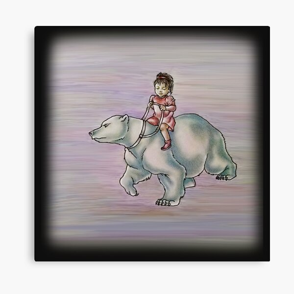 Cartoon Girl Child Riding Polar Bear Drawing  Canvas Print