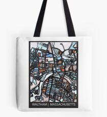 ABSTRACT MAP OF WALTHAM MA Tote Bag