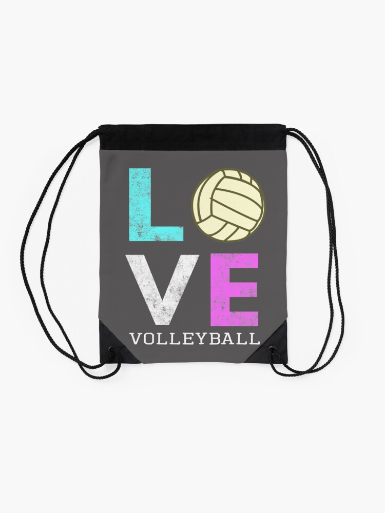 Alternate view of Awesome Girls & Womens Volleyball Gift They LOVE Volleyball Drawstring Bag