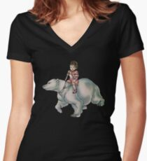 Cartoon Girl Child Riding Polar Bear Drawing  Women's Fitted V-Neck T-Shirt