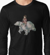 Cartoon Girl Child Riding Polar Bear Drawing  Long Sleeve T-Shirt
