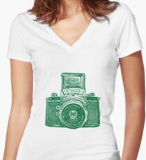 Giant East German Camera - Forest Green Women's Fitted V-Neck T-Shirt