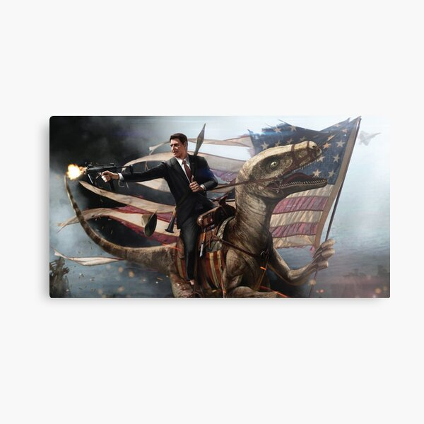 Reagan Riding a Velociraptor  Metal Print