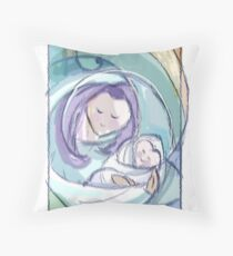 """""""Mother's Joy""""- mom and swaddled baby Throw Pillow"""