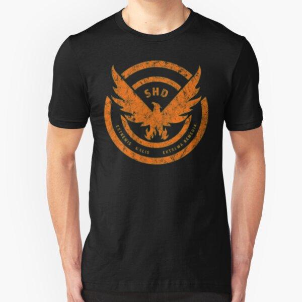 The Division SHD Logo Distressed Orange Slim Fit T-Shirt