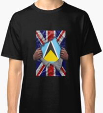 St Lucian Flag Ripped - Born In United Kingdom Roots From St Lucia Classic T-Shirt