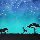Elefant und Giraffe Silhouette von TerraSomniaArt
