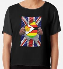 Zimbabwean Flag Ripped - Born In United Kingdom Roots From Zimbabwe Chiffontop