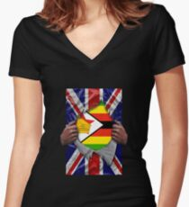 Zimbabwean Flag Ripped - Born In United Kingdom Roots From Zimbabwe Shirt mit V-Ausschnitt