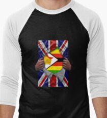 Zimbabwean Flag Ripped - Born In United Kingdom Roots From Zimbabwe Baseballshirt für Männer