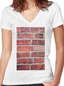 Brickwork Women's Fitted V-Neck T-Shirt
