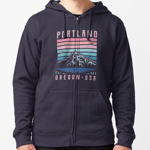 Portland Oregon Retro Zipped Hoodie