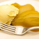 Vanilla Bean Poached Pear and Ice-cream by openyourap