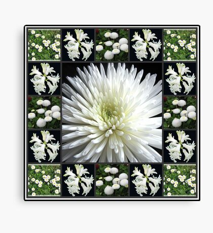 White Flowers Collage featuring Dahlia Leinwanddruck