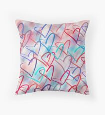 Lovely Hearts Hand Drawn Pastel Throw Pillow