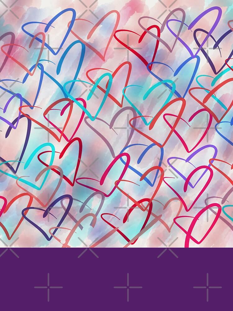 Lovely Hearts - Hand Drawn Cute Dreamy Pastel Art by OneDayArt