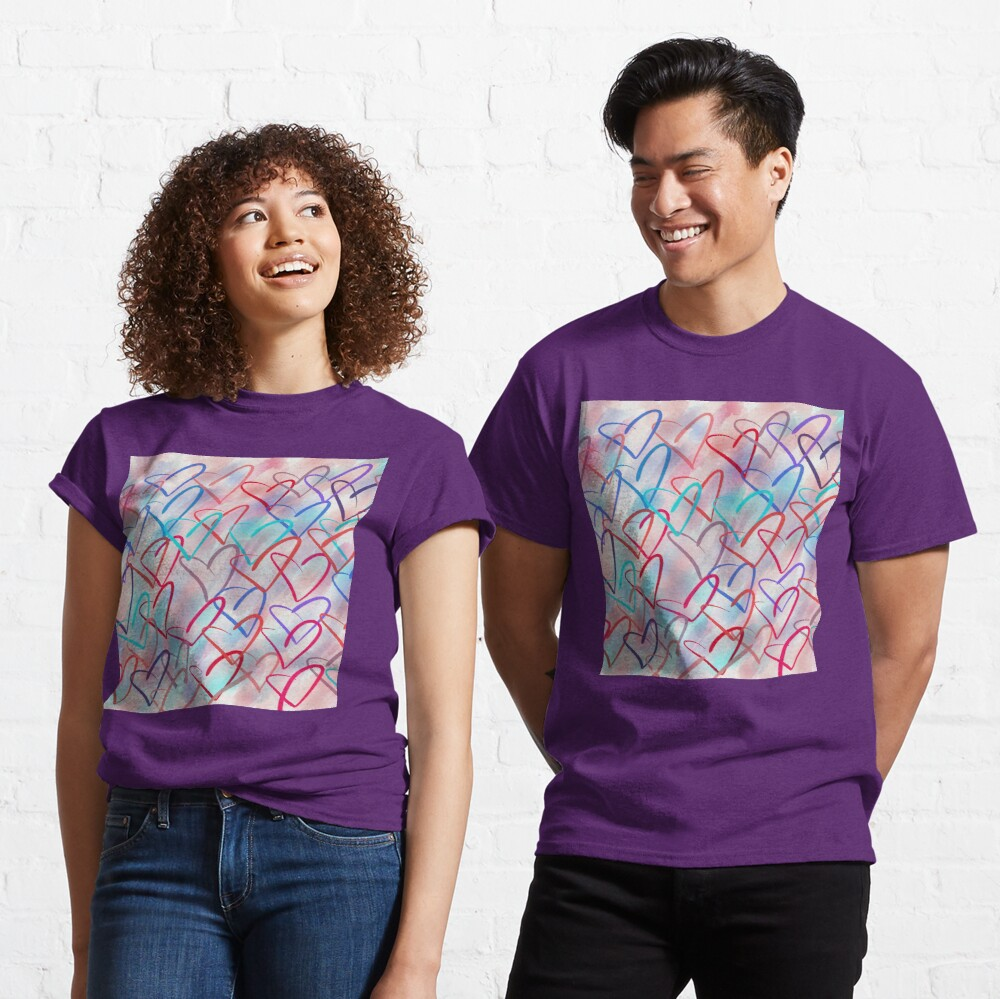Lovely Hearts - Hand Drawn Cute Dreamy Pastel Art Classic T-Shirt