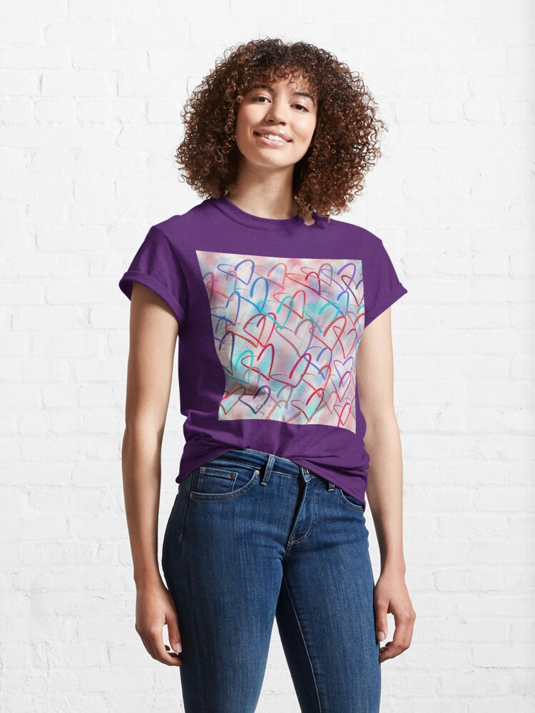 Alternate view of Lovely Hearts - Hand Drawn Cute Dreamy Pastel Art Classic T-Shirt