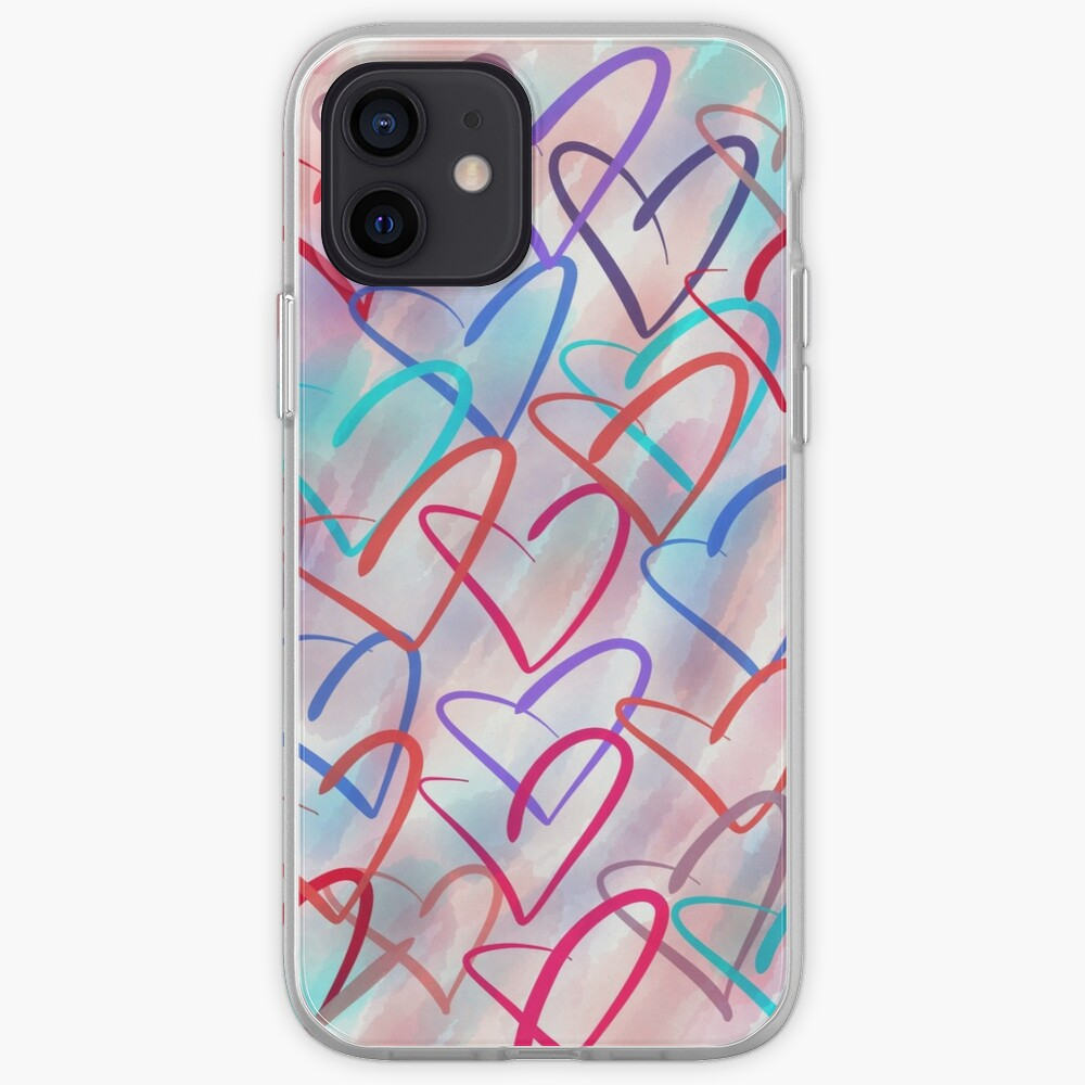 Lovely Hearts - Hand Drawn Cute Dreamy Pastel Art iPhone Case & Cover