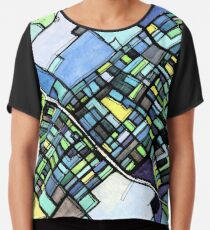 ABSTRACT MAP OF STATE COLLEGE, PA Chiffon Top