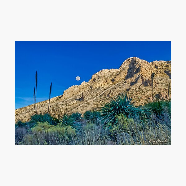 Moonrise Over the Franklin Mountains Photographic Print